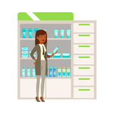 Woman Office Worker In Pharmacy Choosing And Buying Drugs And Cosmetics, Part Of Set Of Drugstore Scenes  Stock Images
