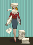 Woman office worker with stack of documents Stock Photo