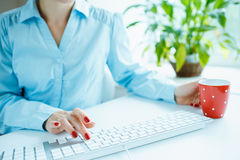 Woman office worker typing on the keyboard and drinking coffee Royalty Free Stock Image
