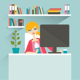 Woman office workplace. Secretary. Royalty Free Stock Image