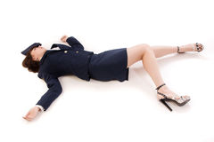 Woman officer lying on a floor Royalty Free Stock Photography