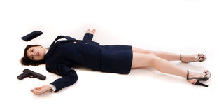 Woman officer lying on a floor Stock Image