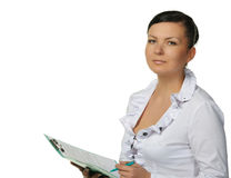 The woman with official papers. It is isolated on a white background Stock Photos