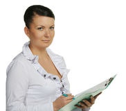 The woman with official papers Royalty Free Stock Photos