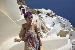 Woman at Oia, Santorini Stock Photo