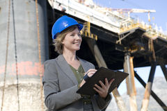 Woman oil platform engineer Stock Photography