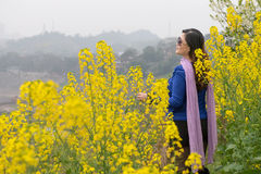Woman and oilseed rape flower Stock Photos