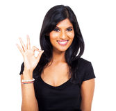 Woman ok hand sign Royalty Free Stock Photography