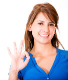 Woman with an ok sign Stock Photo