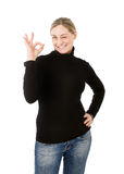Woman ok sign with hand Stock Images