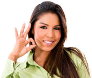 Woman with an ok sign Stock Photos