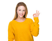 Woman with ok sign Royalty Free Stock Photo
