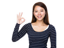 Woman with ok sign Royalty Free Stock Image