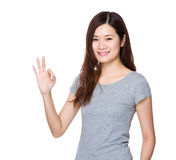 Woman with ok sign Stock Photos