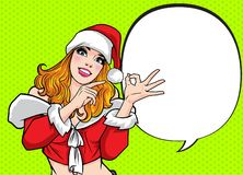 Beautiful santa Woman pointing something and hand up ok action royalty free illustration