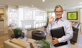 Woman with Okay Sign Over Custom Room and Design Drawing. Happy Woman with Okay Sign Over Custom Living Room and Design Drawing Royalty Free Stock Photo