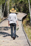 Woman on Okefenokee Boardwalk Stock Images