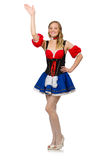 Woman in Oktoberfest concept on white Royalty Free Stock Image