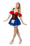 Woman in Oktoberfest concept on white Royalty Free Stock Photography