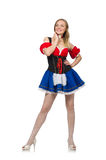 Woman in Oktoberfest concept on white Royalty Free Stock Images