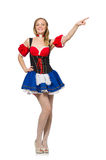 The woman in oktoberfest concept on white Stock Photography