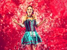 Woman in oktoberfest costume. Toning royalty free stock photos