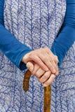 Woman old apron walkingstick Stock Photos