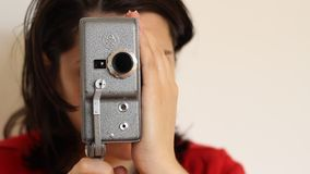 Woman and Old Camera stock footage