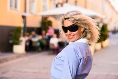 Woman in old city. Stock Image