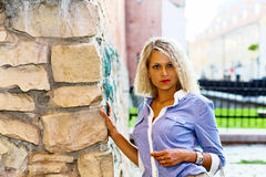 Woman in old city. Stock Images