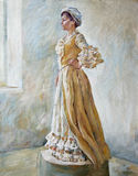 Woman in old-fashioned dress standing oil illustration. Portrait of a woman in old-fashioned dress standing in profile by the window oil illustration Royalty Free Stock Photo