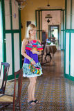 Woman in old-fashioned house. Woman standing in old-fashioned house in Mexico, Yucatan Stock Image