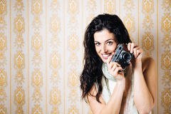 Woman with old film camera Royalty Free Stock Photography