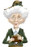 Woman old handbag mail character cartoon style  Stock Photos