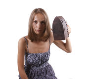 Woman with old iron, isolated Stock Photos
