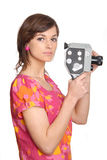 Woman with old movie camera Stock Photo