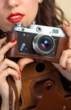 Woman with old photo camera Royalty Free Stock Photo