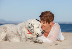 Woman with old rescue dog or pet Stock Photography
