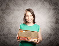 Woman with old retro radio Stock Photo