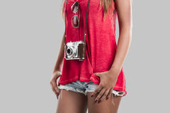 Woman with a old vintage camera Royalty Free Stock Photography