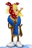 Woman old wooden character cartoon style  illustration Stock Photos