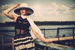 Woman on old wooden pier Royalty Free Stock Photos