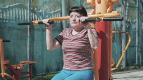 A woman of older age. Training, exercises. stock video footage