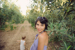 Woman in Olive Garden Royalty Free Stock Photos