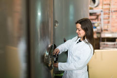 Woman at olive oil factory Royalty Free Stock Image