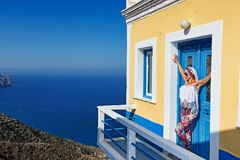 A woman at Olympos of Karpathos, Greece Royalty Free Stock Photography