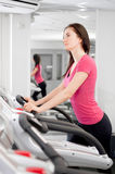 Woman On A Running Simulator Stock Image