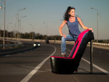 Woman On Highway Stock Photos