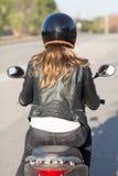 Woman On Motor Bike Driving Stock Photo