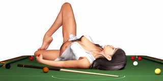 Woman On Snooker Table Stock Photo